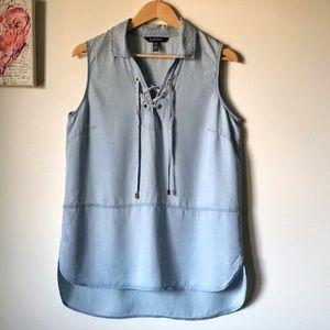 Ellen Tracy chambray sleeveless tunic - size large